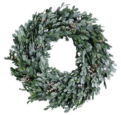Türkranz Wandkranz Adventskranz Weihnachten Grün Silber Buchsbaum-Kranz Ø35cm