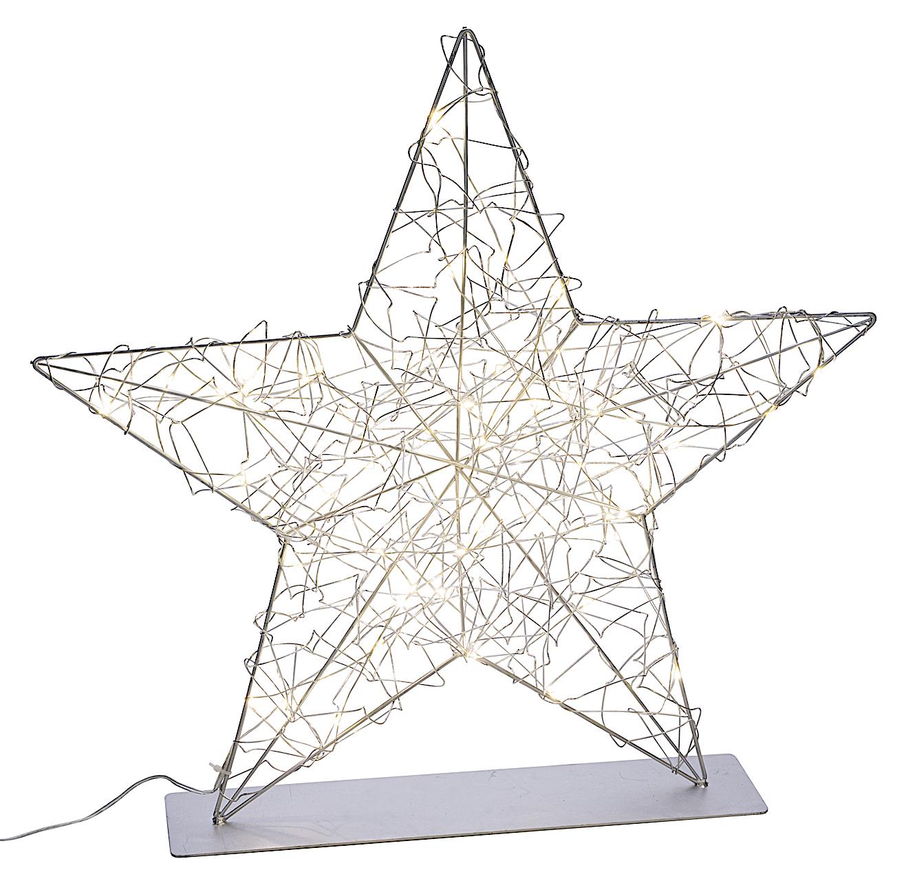 LED Leuchtstern Deko Stern Draht Metall Silber Batterie Weihnachten Deko 35cm