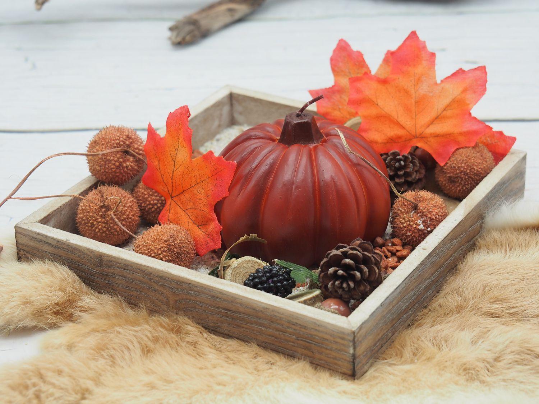 Deko Tablett Herbst Tischdeko Herbstdeko mit Kürbiskerze Streudeko Natur Orange Braun