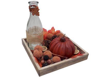 Dekotablett Holz Herbst Herbstdeko Tischdeko Deko Kerze Kürbis Orange Braun 20cm