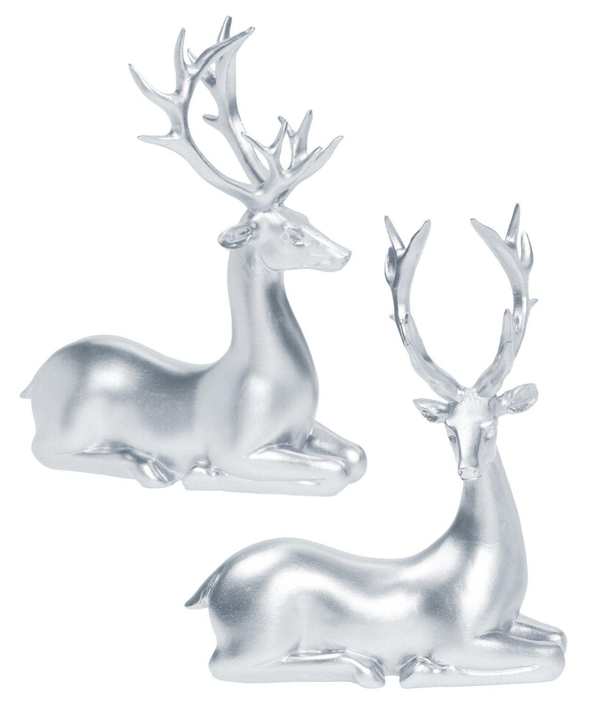 Dekofigur Rentier Hirsch Liegend Silber Advent Weihnachten Deko Polyresin 21cm