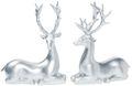 Dekofigur Rentier Hirsch Liegend Silber Advent Weihnachten Deko Polyresin 21cm  1