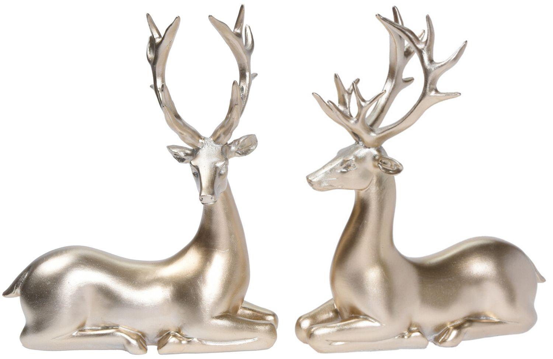 Dekofigur Rentier Hirsch Liegend Gold Advent Weihnachten Deko Polyresin 21cm