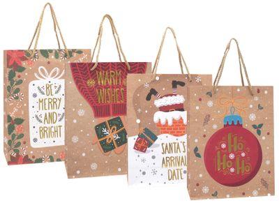 Geschenktasche Kraftpapier Geschenkverpackung Weihnachten Tüte Deko Klein 4 Stück