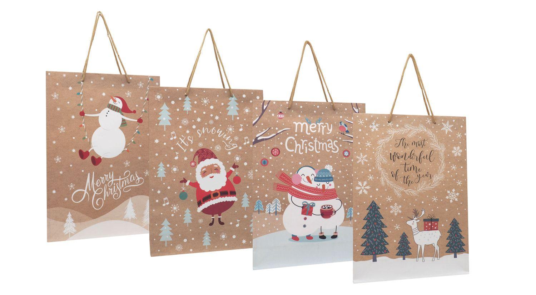 Geschenktasche Kraftpapier Geschenkverpackung Weihnachten Tüte Deko Mittel 4 Stück