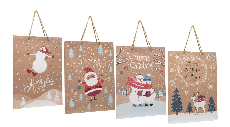 Geschenktasche Kraftpapier Geschenkverpackung Weihnachten Deko Mittel 4 Stück