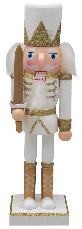 Nussknacker Weiß Gold Holz 25cm Weihnachtsdeko Weihnachten Deko Figur