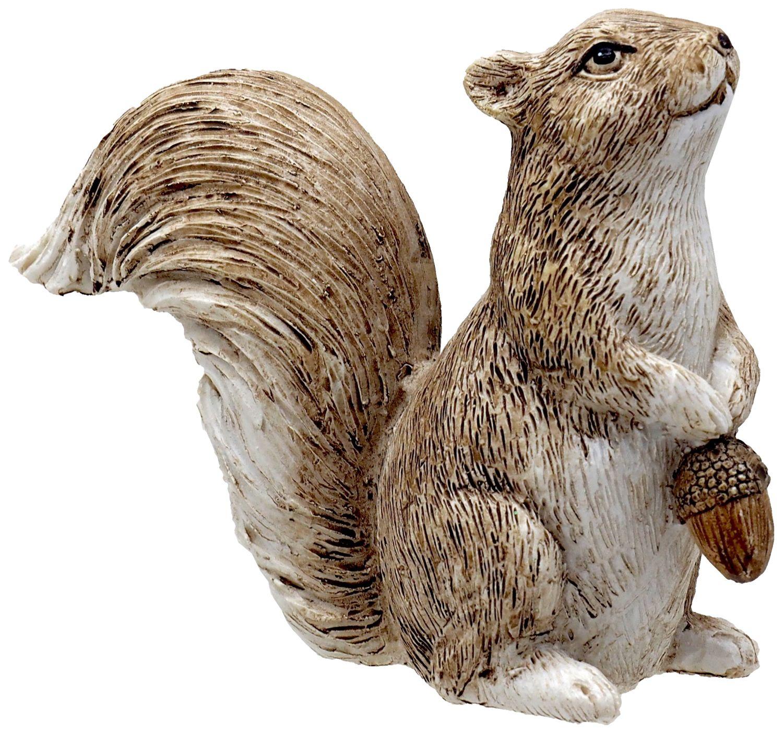 Eichhörnchen Deko Figur mit Eichel Braun Creme Herbst Weihnachten Winterdeko 10cm