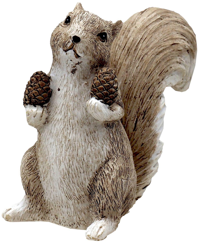 Deko Eichhörnchen Figur mit Zapfen Braun Creme Herbst Weihnachten Winterdeko 10cm