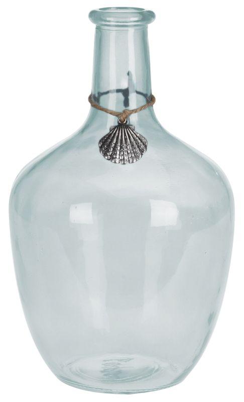 Ballonvase Blumenvase Hellblau Muschel Maritime Deko Vase Tischdeko Deko 26cm
