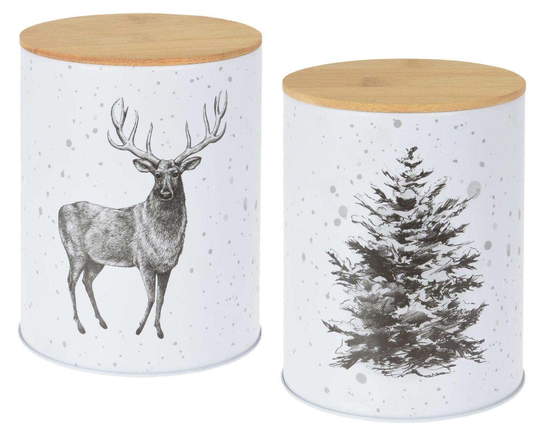 Vorratsdosen mit Weihnachtsmotiv Hirsch Baum Keksdose Weihnachtsplätzchen Weihnachtsdeko