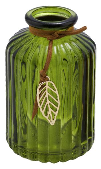 Glasvase Grün mit Gold Blatt Blumenvase Herbst Dekovase Tischdeko