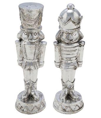 Weihnachtsfigur Soldat Silber Polyresin 23cm Deko Figur Weihnachten Weihnachtsdeko