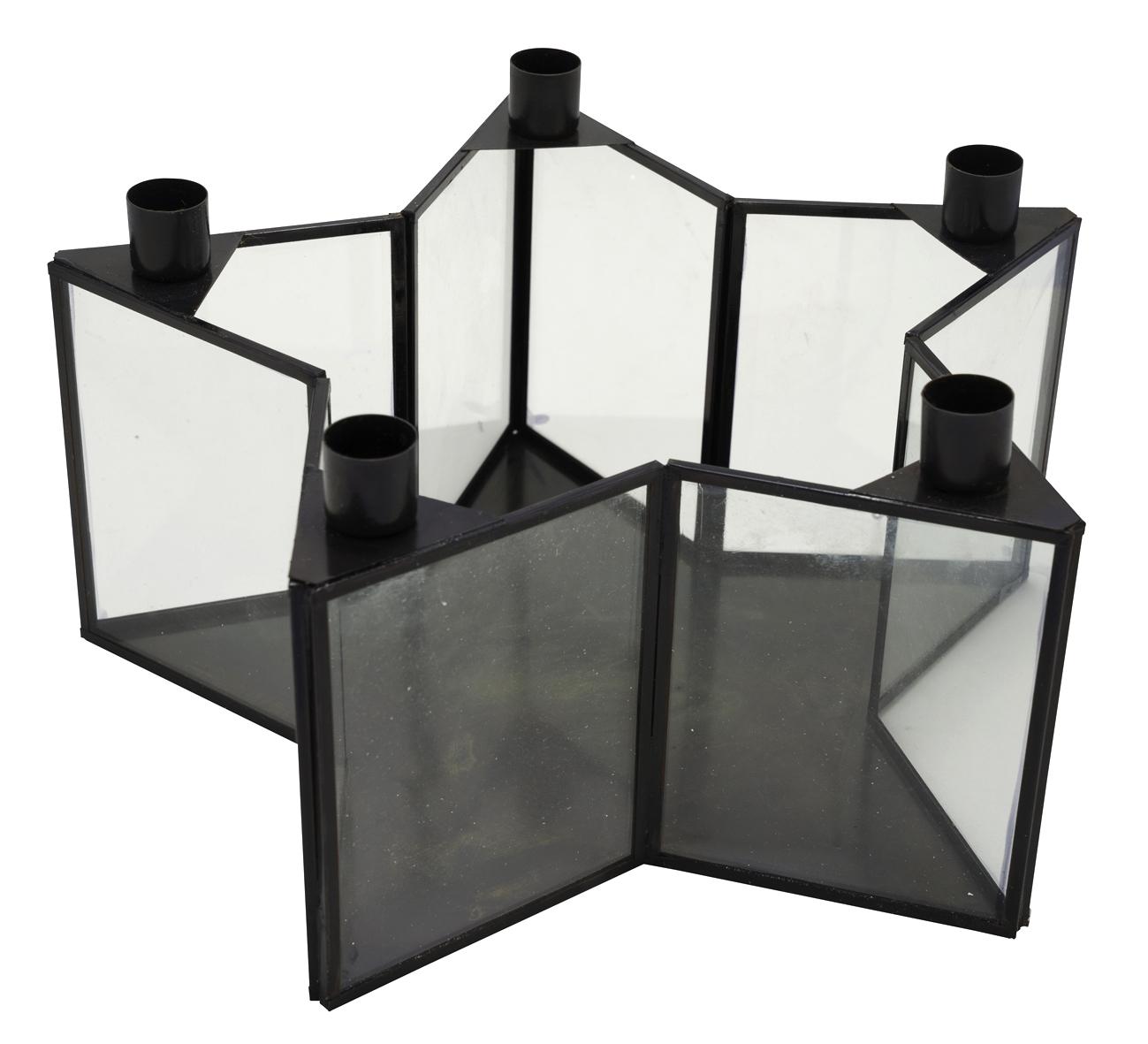 Stern Kerzenhalter aus schwarzem Metall mit Glas für 5 Stabkerzen als Weihnachtsdeko