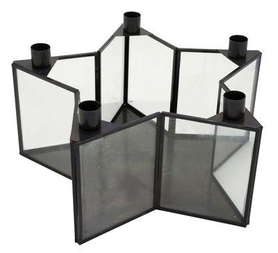 Kerzenhalter Stern Schwarz Metall mit Glas 30cm für Stabkerzen Weihnachtsdeko Adventsdeko