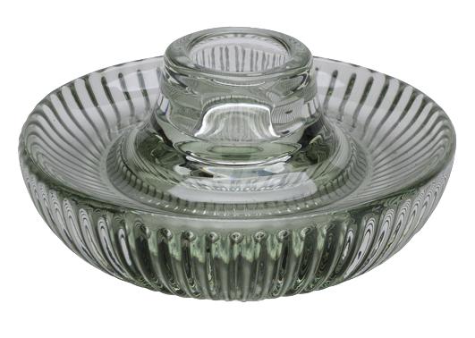 Grüner Teelichthalter aus Glas für Stabkerzen oder Teelichter als Tischdeko