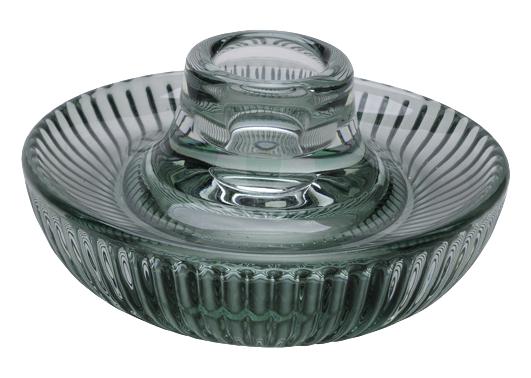 Moderner Kerzenhalter aus Glas in Grün für Teelichter und Stabkerzen zu verwenden