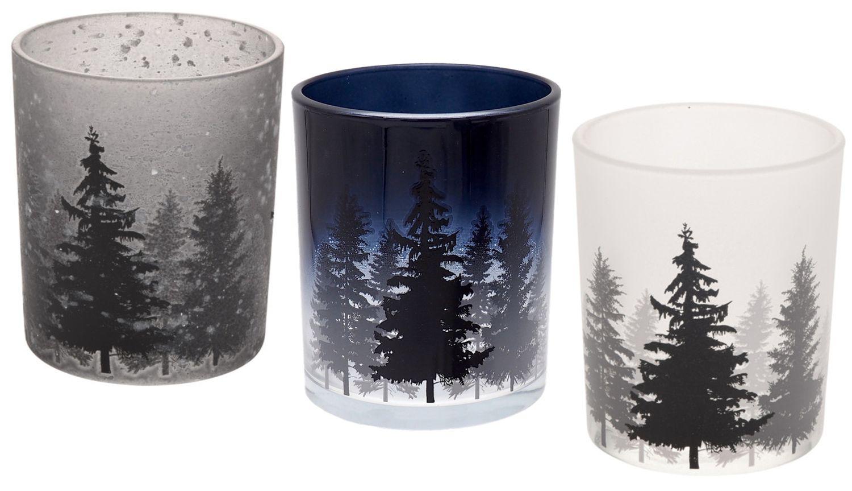 Teelichthalter in drei verschiedenen Farben Blau Grau Weiß als Tischdeko in der Weihnachtszeit