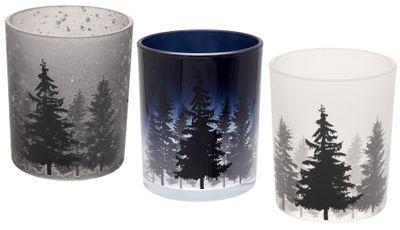 Teelichthalter Windlicht Weihnachtsbaum Kerzenglas Tischdeko Weiß Grau Blau Ø8,5 cm