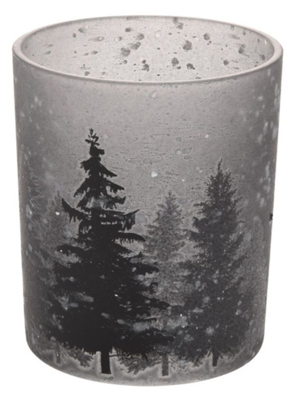 Kerzenglas in Grau Teelichthalter Windlicht Weihnachtsbaum Tischdeko Adventsdeko