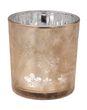 Kerzenhalter aus Glas in Braun mit Motiv Schneeflocke für die Adventszeit und Weihnachtszeit 2