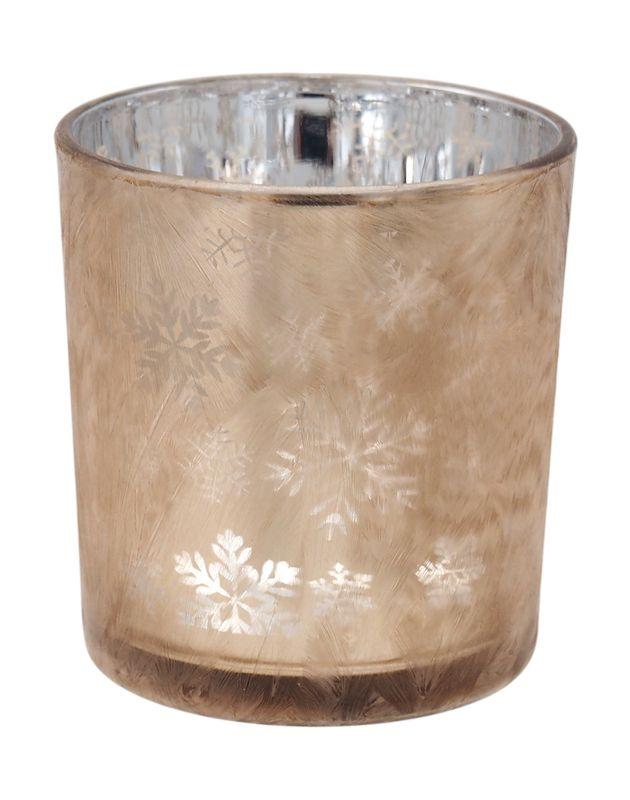 Kerzenhalter aus Glas in Braun mit Motiv Schneeflocke für die Adventszeit und Weihnachtszeit