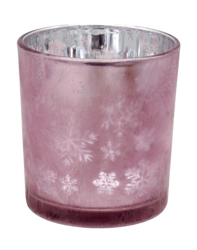 Kerzenglas in Mauve mit Motiv Schneeflocke als Tischdeko im Advent