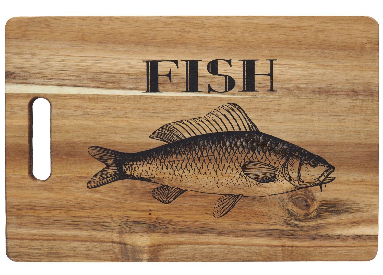 Servierbrett aus Echtholz mit Motiv Fish als Schneidebrett oder Brotzeitbrett