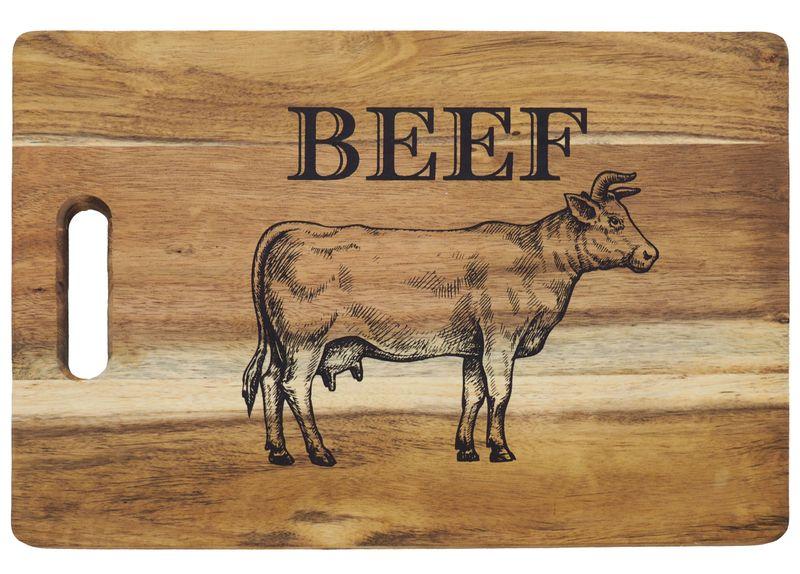 Servierbrett aus Holz für Steaks oder als Schneidebrett für einen Grillabend