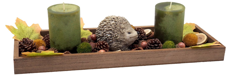 Herbstgesteck länglich Tablett Holz Kerzen Grün Streudeko Herbstdeko Tischdeko 40cm