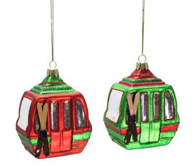 Christbaumschmuck Gondel Seilbahn Glas zwei Farben Weihnachtsschmuck Deko Geschenk 8cm