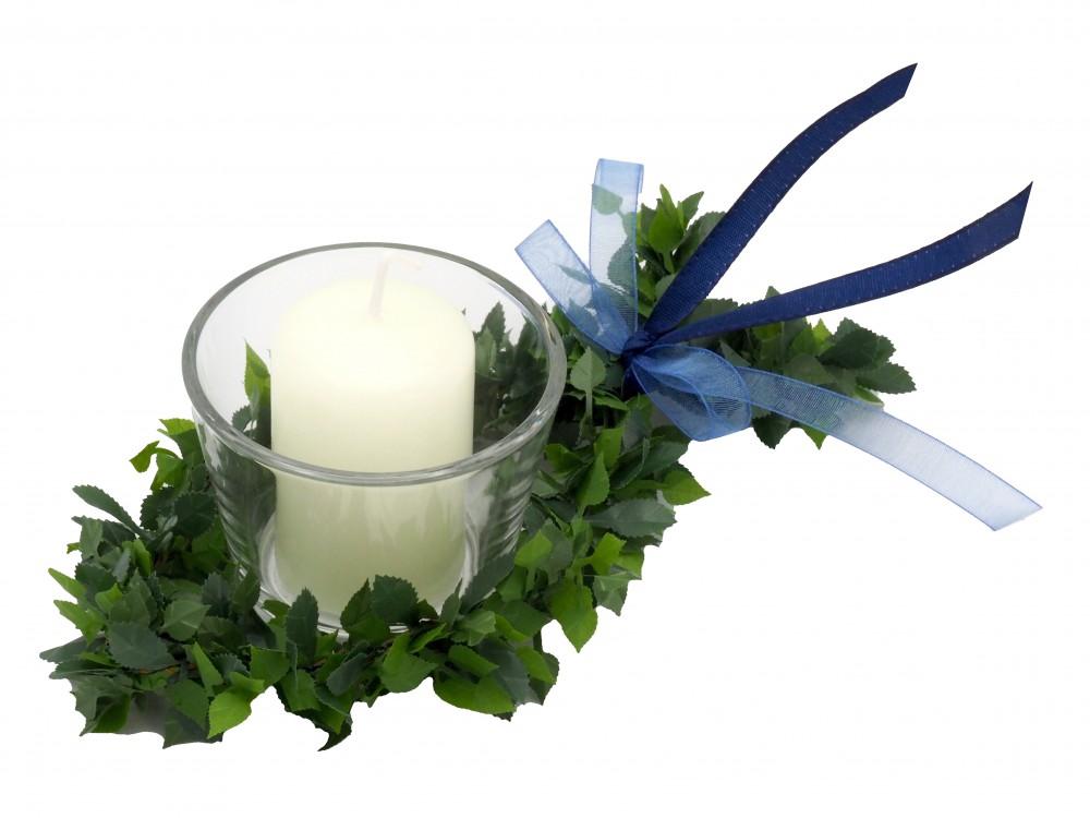 SET: 6x Kerze Votivglas Fisch Rosenblatt Blau Tischdeko Kommunion Konfirmation Taufe Kerzendeko