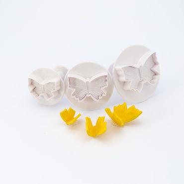 Dekofee Schmetterlings Ausstecherset mit Auswerfer und Prägung -3 teilig -