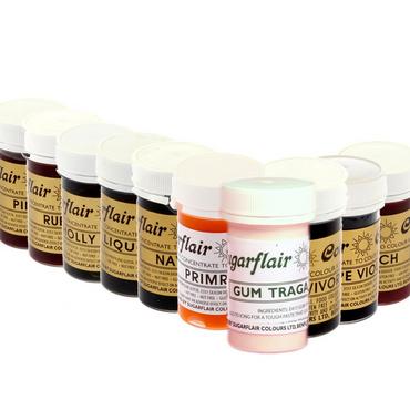 10 teiliges Sortiment von Sugarflair - 8 Pastenfarben + Black Extra + Traganth