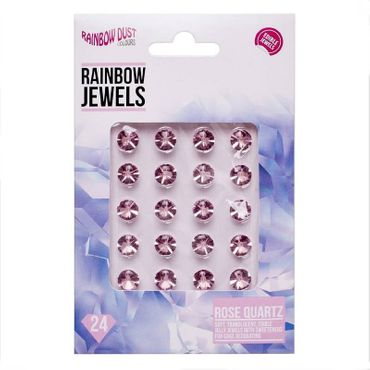 Rainbow Dust Jewels Rose Quartz - essbare Gelee Diamanten Rose - 24 St.