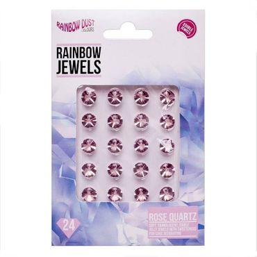 Rainbow Dust Jewels Rose Quartz - essbare Gelee Diamanten Rose - 24 St.