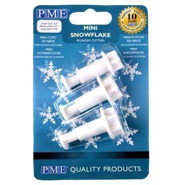 PME Mini Schneeflocken Ausstecherset mit Auswerfer - Snowflake Plunger Cuttersmall – 3 teilig