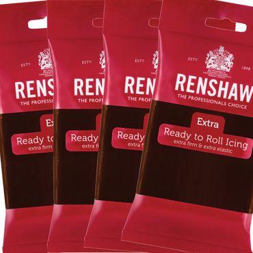 Renshaw Schokoladenfondant Chocolate - Rollfondant mit dem Geschmack von Schokolade 4 x 250 g