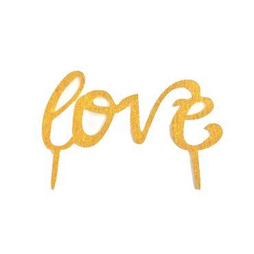 Cake Topper Schriftzug Love, Acryl gold