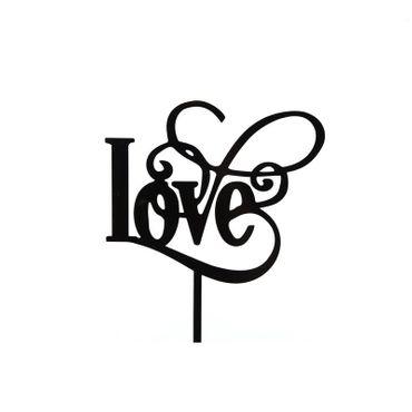Cake Topper Schriftzug Love, Acryl schwarz