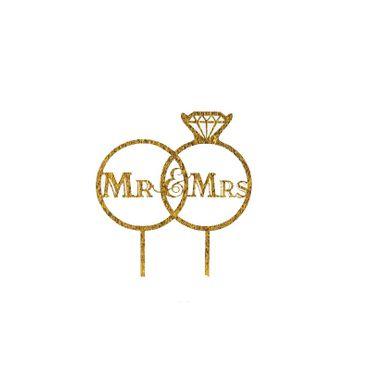 Cake Topper Ringe Mr & Mrs , Acryl Gold