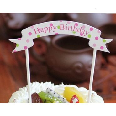 Cake Topper Happy Birthday Banner
