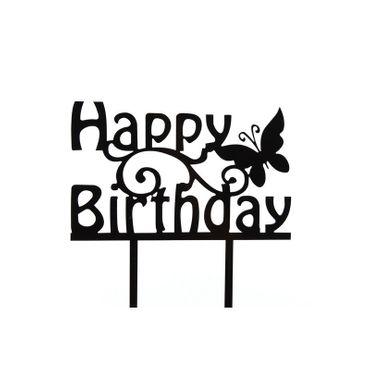 Cake Topper Happy Birthday mit Schmetterling, Acryl schwarz