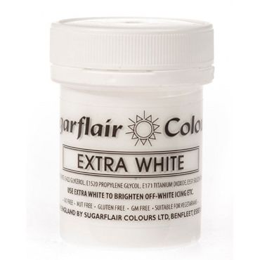 Sugarflair Pastenfarbe Extra White - Extra weiss Superweiss  50 g