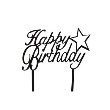 Cake Topper Happy Birthday mit Stern, Acryl schwarz