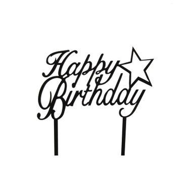 Cake Topper Happy Birthday mit Stern, Acryl schwarz