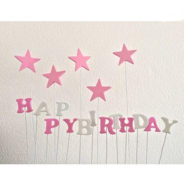 Cake Topper Happy Birthday mit einzelnen Buchstaben und Sternen