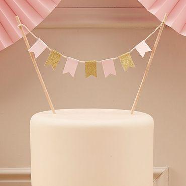 Ginger Ray Cake Topper Wimpelkette Pastellrosa und Gold  – Bild 3