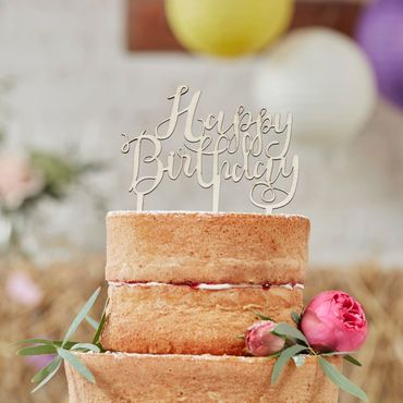Ginger Ray Cake Topper Happy Birthday, aus Holz im Vintage Style  – Bild 1