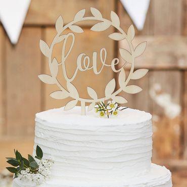 Ginger Ray Cake Topper Love - im Blätterkranz, aus Holz – Bild 1